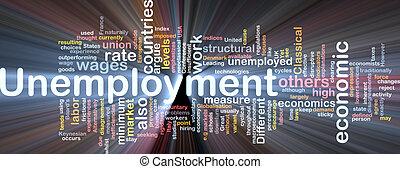 boîte, chômage, mot, nuage, paquet
