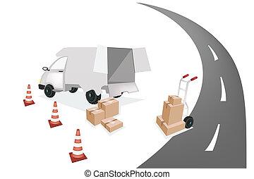 boîte, chargement, fourgon, expédition, camion main