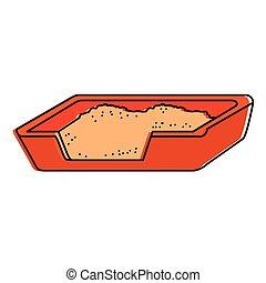 boîte, chat sable, icône