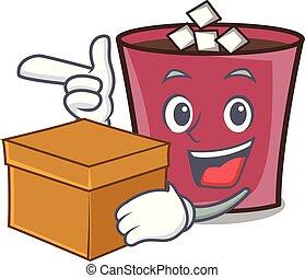 boîte, chaud, caractère, dessin animé, chocolat