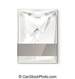 boîte, chemise, classique, hommes, étiquette, ...