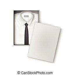 boîte, chemise, classique, hommes, conditionnement, cravate ...