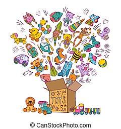 boîte, childrens, griffonnage, illustration, toys., vecteur, images