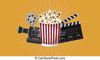 boîte, cinéma, équipement, animation, pop-corn, hd