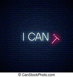 boîte, citation, instead, motivation, lettre, tomber, lire, attitude, positif, concept, néon, incandescent, illustration, t, can't