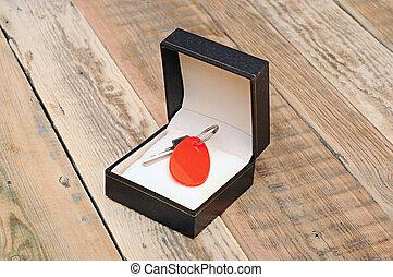 boîte, clã©, cadeau, bois, étiquette, arrière-plan noir, vide