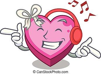 boîte, coeur, écoute, bois, musique, au-dessus, table, dessin animé