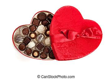boîte, coeur, bonbon, formé