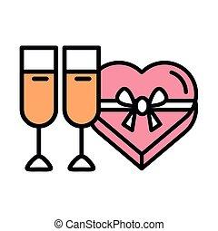 boîte, coeur, cadeau, présent, amour