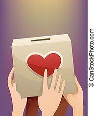 boîte, coeur, donation, mains