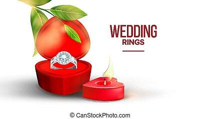 boîte, coeur, forme diamant, vecteur, alliance