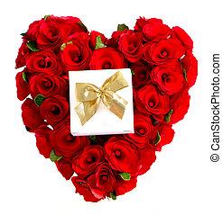 boîte, coeur, rouges, cadeau, roses