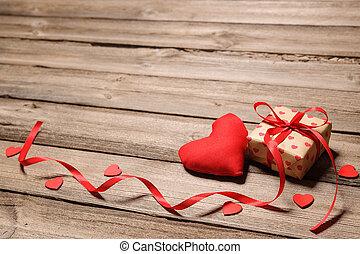 boîte, coeur, ruban, cadeau, rouges