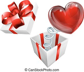 boîte, coeur, symbole, cric