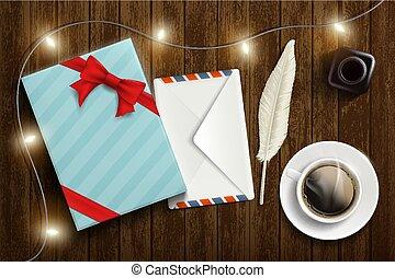 boîte, coffee., cadeau, tasse, enveloppe, lettre