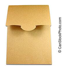 boîte, colis brun, isolé, fond, vide, blanc