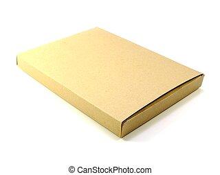 boîte, colis brun, isolé, papier, fond, blanc
