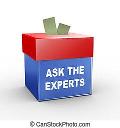 boîte, -, collection, experts, demander, 3d