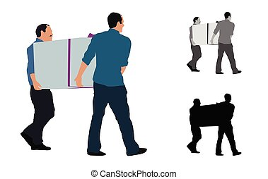 boîte, coloré, grand, hommes, deux, illustration, réaliste, porter