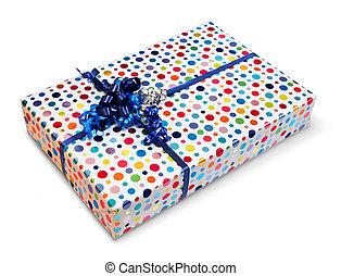 boîte, coloré, présent