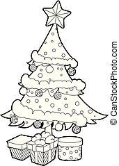 boîte, coloration, cadeau, esquissé, arbre, livre, noël