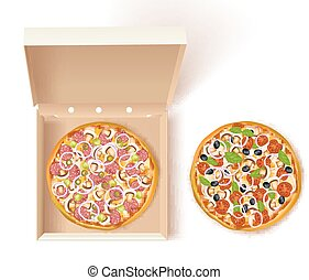 boîte, composition, pizza