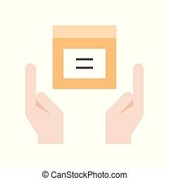 boîte, concept, achats, paquet, livraison, tenant mains, icône, logistique
