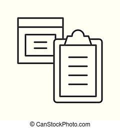 boîte, concept, achats, paquet, presse-papiers, livraison, logistique, ligne, icône