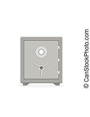 boîte, concept, assurer, symbole argent, sûr, métal, icon.