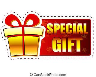 boîte, concept, business, cadeau, texte, flocons neige, -, signe, présent, vacances, bannière, noël, spécial, rouges