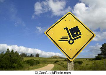 boîte, concept, expédition, signe, livraison, charrette, route