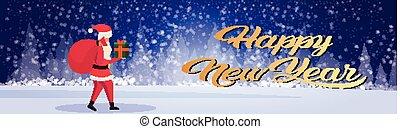 boîte, concept, hiver, cadeau, claus, fond, sac, santa, longueur, porter, entiers, forêt, joyeux, année, nouveau, horizontal, bannière, noël, paysage, heureux