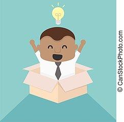 boîte, concept, image, jeune, dehors, africaine, homme affaires