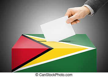 boîte, concept, peint, national, -, drapeau, couleurs, guyane, vote, vote