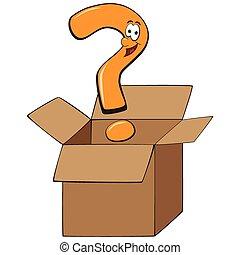 boîte, concept, pensée, point interrogation, cartoon., dehors