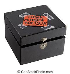 boîte, concept, penser, dehors, rappel, ou