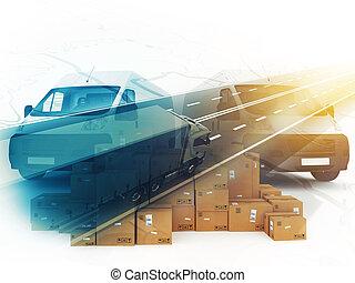 boîte, concept, system., rendre, distribution, 3d