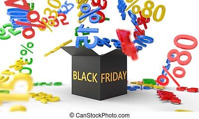 boîte, concept, vendredi, ventes, illustration, escompte, noir, rates., 3d