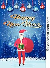 boîte, concept, vertical, cadeau, année, claus, fond, sac, joyeux, longueur, entiers, forêt, santa, tenue, nouveau, noël heureux, paysage, hiver