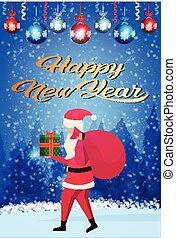boîte, concept, vertical, cadeau, claus, fond, sac, santa, longueur, porter, entiers, forêt, joyeux, année, nouveau, noël heureux, paysage, hiver