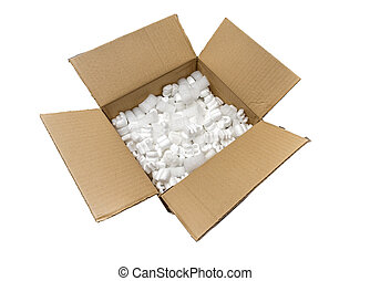boîte, conditionnement, carton, remplir, cacahuètes
