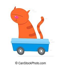 boîte, conduite, chat, literie, vitesse, sien, rouges