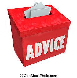 boîte, consultant, mot, réaction, conseil, idée, suggestion, entrée