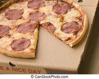 boîte, couper, loin, pepperoni, prendre, pris, pizza