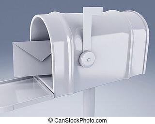 boîte, courrier, blanc, lettre