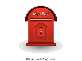 boîte, courrier, blanc rouge, fond