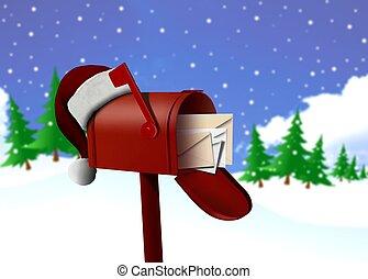 boîte, courrier, chapeau, rouges