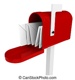boîte, courrier, intérieur, lettre, 3d