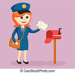 boîte, courrier, postwoman