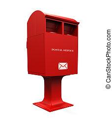 boîte, courrier, rouges